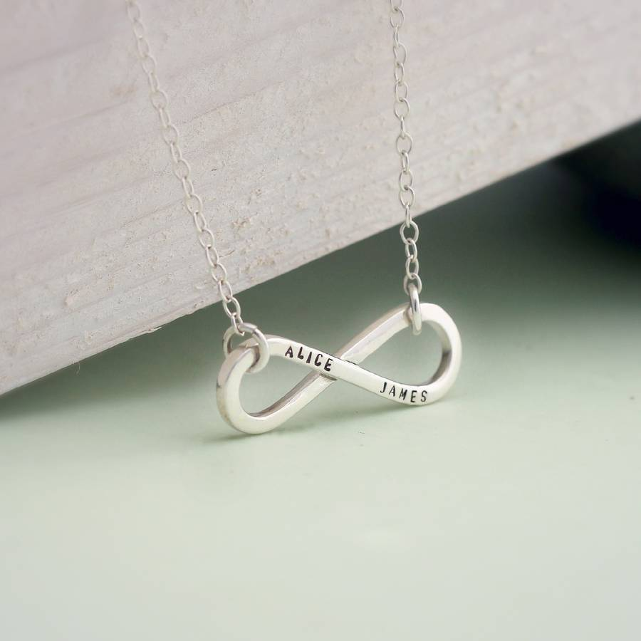 1d61e01df Personalised Infinity Necklace in 925 Sterling Silver with a black finish  on a standard trace chain
