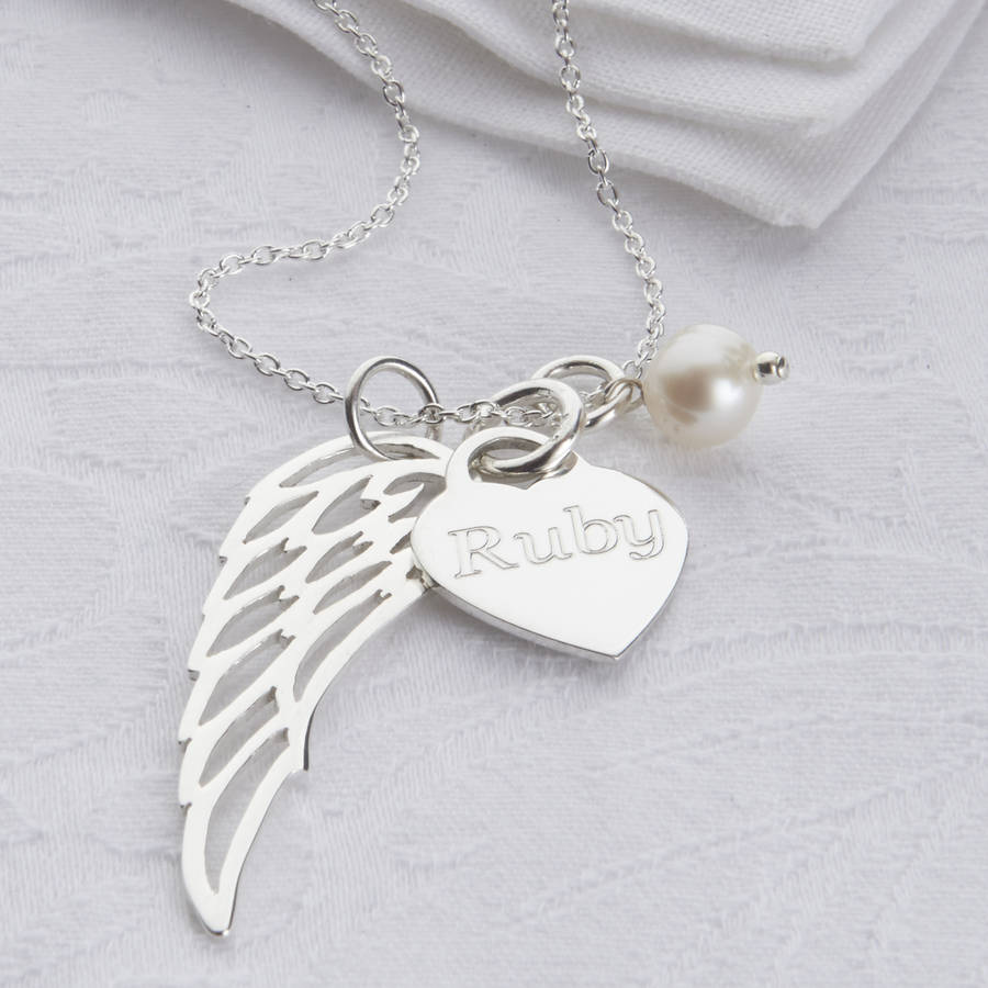 pendant silver heart sterling angel pave bling b jewelry inch az tone necklace guardian cz yly wing wings