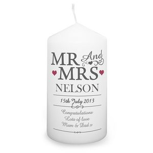 Mr And Mrs Personalised Wedding Candle - lights & candles