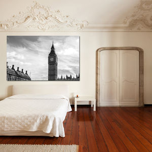 London Black And White Canvas Art - oversized art