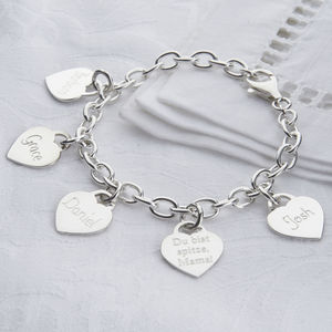 Personalised Sterling Silver Loved Ones Charm Bracelet