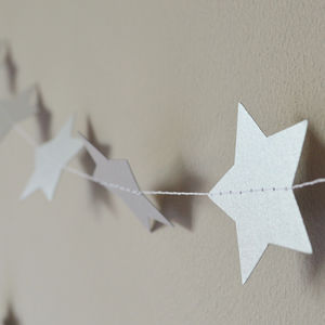 Silver Christmas Garland Shimmer 5cm Stars - room decorations