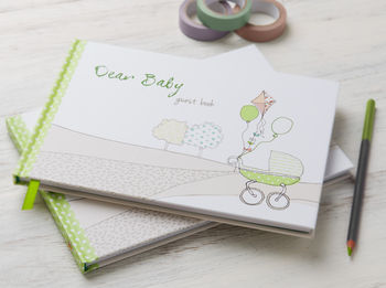 Baby Shower, Dear Baby Guest Book Green
