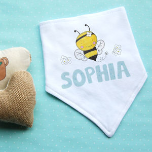 Personalised Bee Dribble Bib