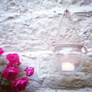 Round Glass Candle Holder Rope Handled Lantern