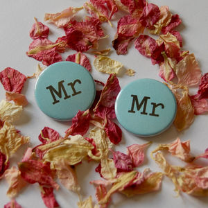 Mr And Mr Pin Badges - wedding favours