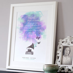 Personalised Song Lyrics Print - gifts £25 - £50 for her