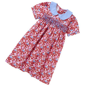 Smocked Dress Red Mushroom Print