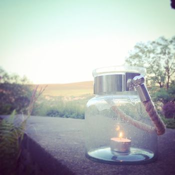 Glass Candle Holder Lantern With Rope Handle