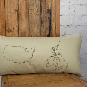 Personalised Maps Cushion Cover - bedroom