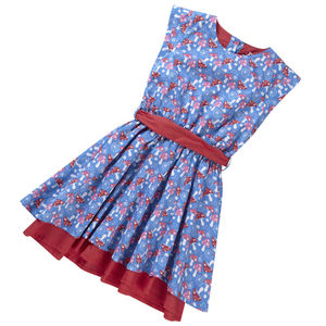 Party Dress Blue Mushroom Print - flower girl fashion