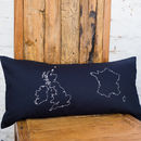 British Isles & France navy cushion