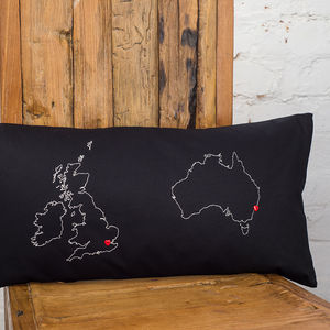 Personalised Map Cushion - bedroom