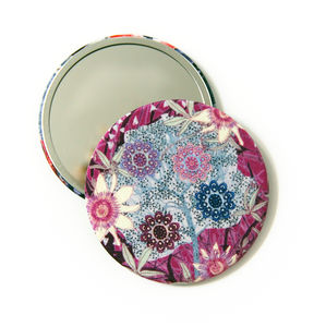 Shadow Berry Silk Covered Compact Mirror