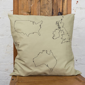 Personalised Three Country Map Cushion Cover - cushions