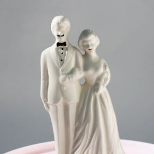Vintage Bride And Groom Wedding Cake Topper - retro inspired wedding decorations