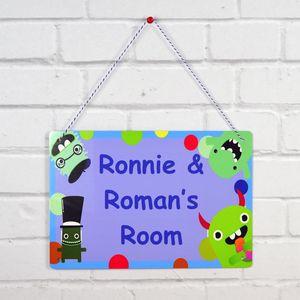 Boys Monster Personalised Bedroom Door Sign