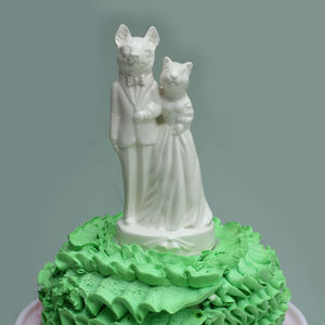 Squirrel Weds Wolf Wedding Cake Topper