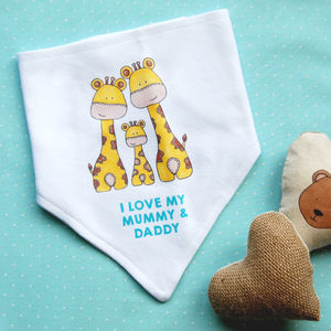 'I Love My Mummy And Daddy' Baby Dribble Bib - bibs