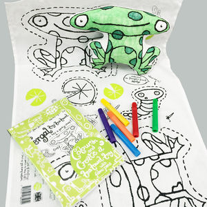 Colour In Toy Tea Towel Frog With Fabric Pens X1 Cc01 - kitchen