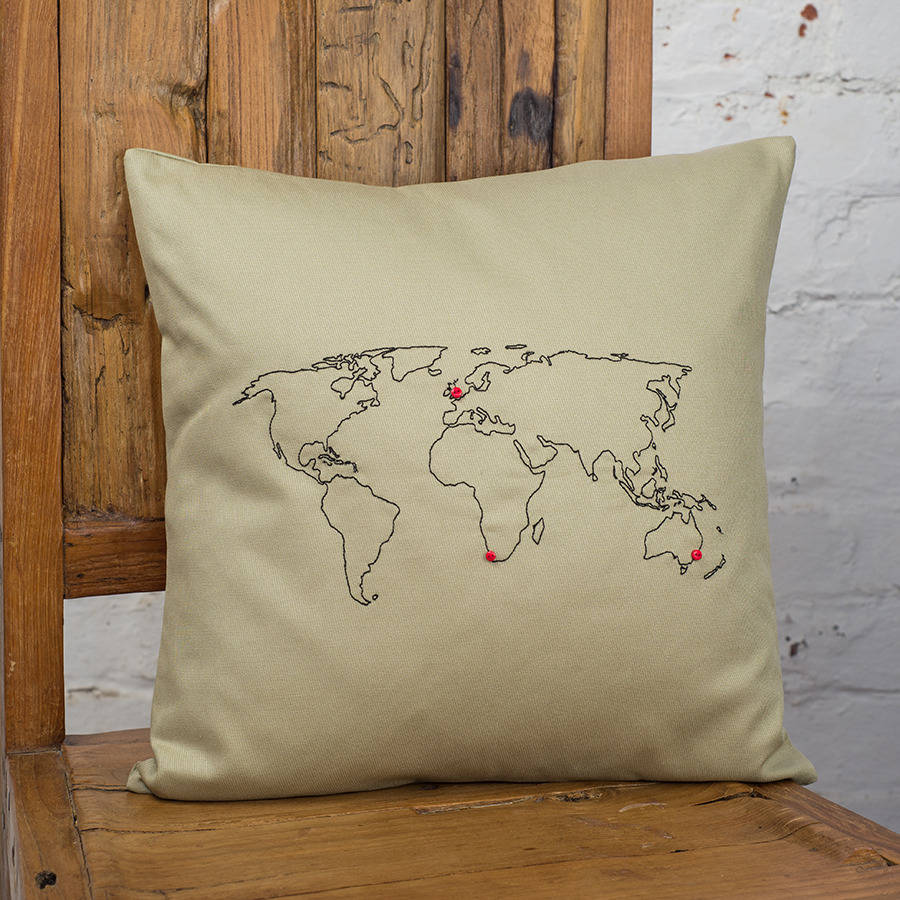 personalised world map cushion cover by thread squirrel. Black Bedroom Furniture Sets. Home Design Ideas