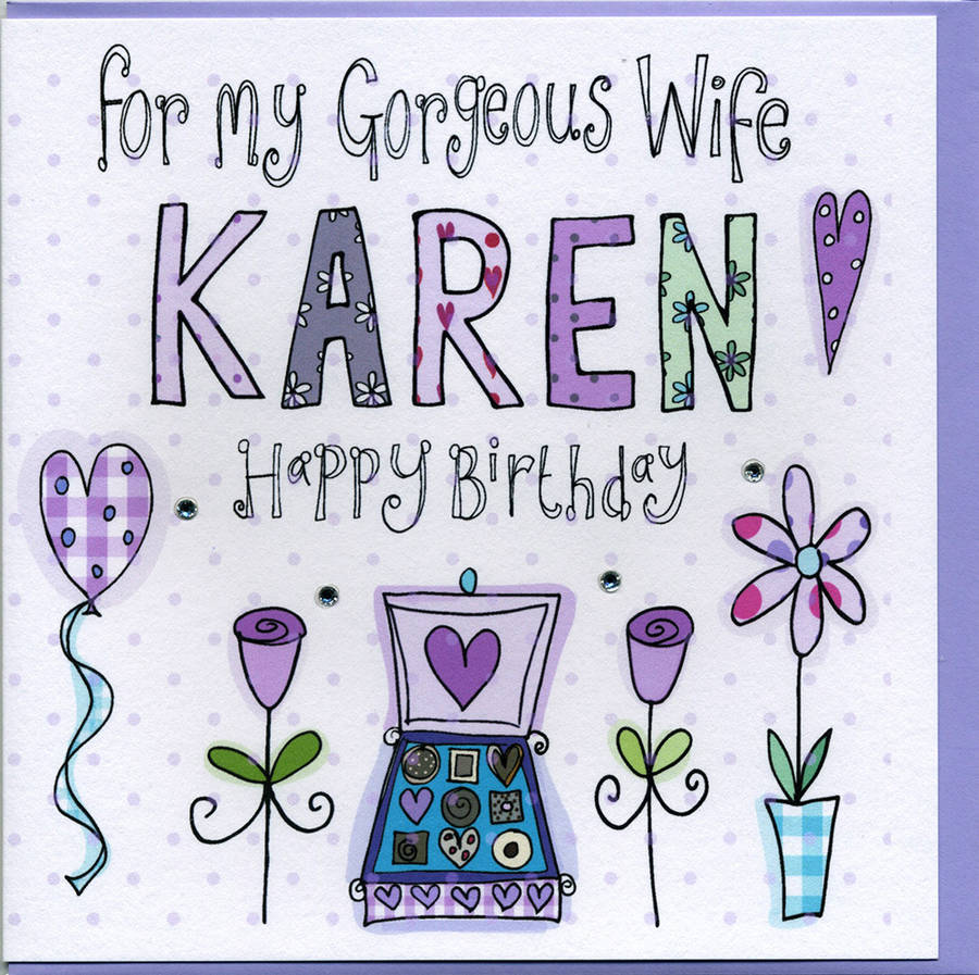 personalised wife birthday card by claire sowden design, Birthday card