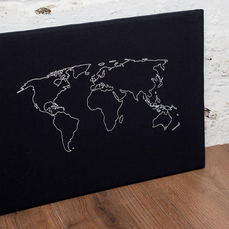 World Map Notice Board By Thread Squirrel Notonthehighstreet Com