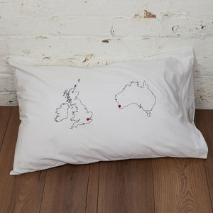 Long Distance Love Map Pillowcase - bed, bath & table linen