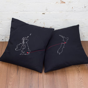 Two Connecting Love Map Cushions - bedroom