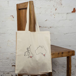 Personalised Maps Tote Bag. Any Two Countries - fashion