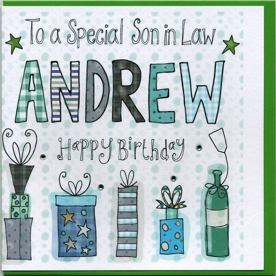 Personalised Son In Law Birthday Card By Claire Sowden Design