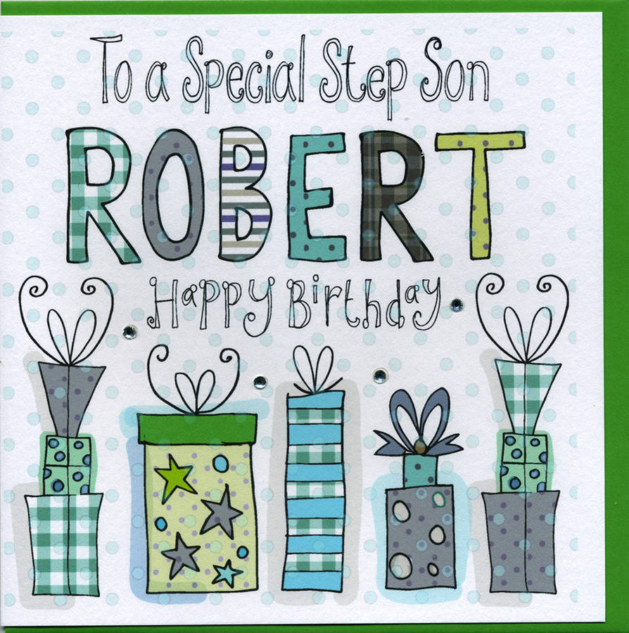 personalised step son birthday card by claire sowden design – Son Birthday Cards