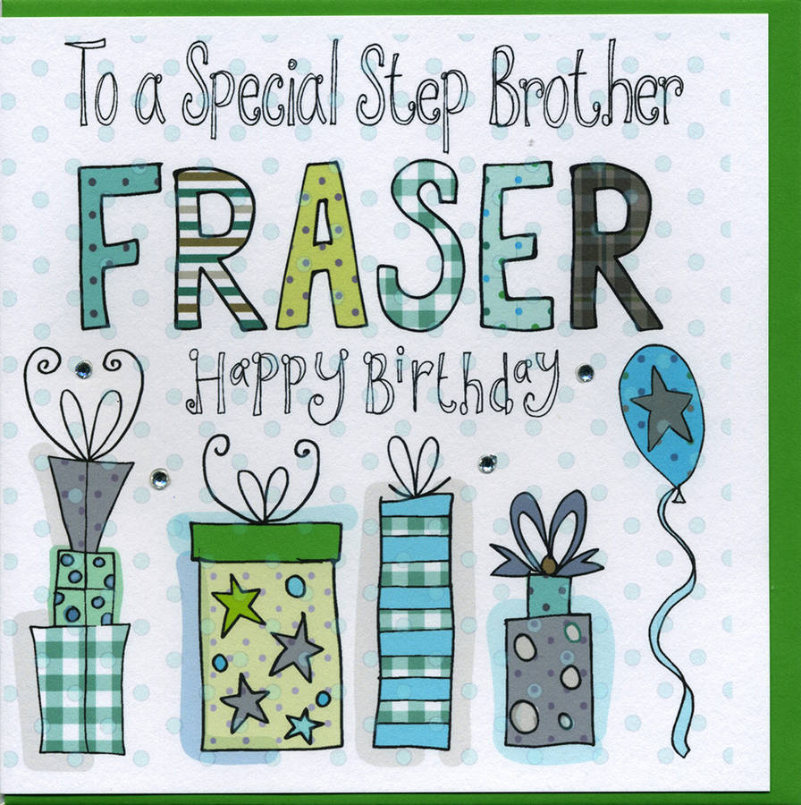 personalised step brother birthday card by claire sowden design