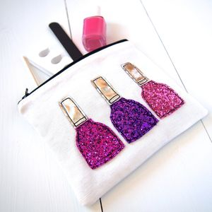 Glitter Nail Polish Pouch - make-up & wash bags