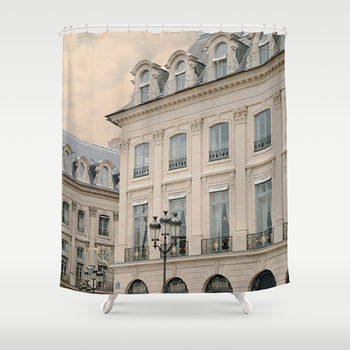 Paris Lamps Fabric Shower Curtain