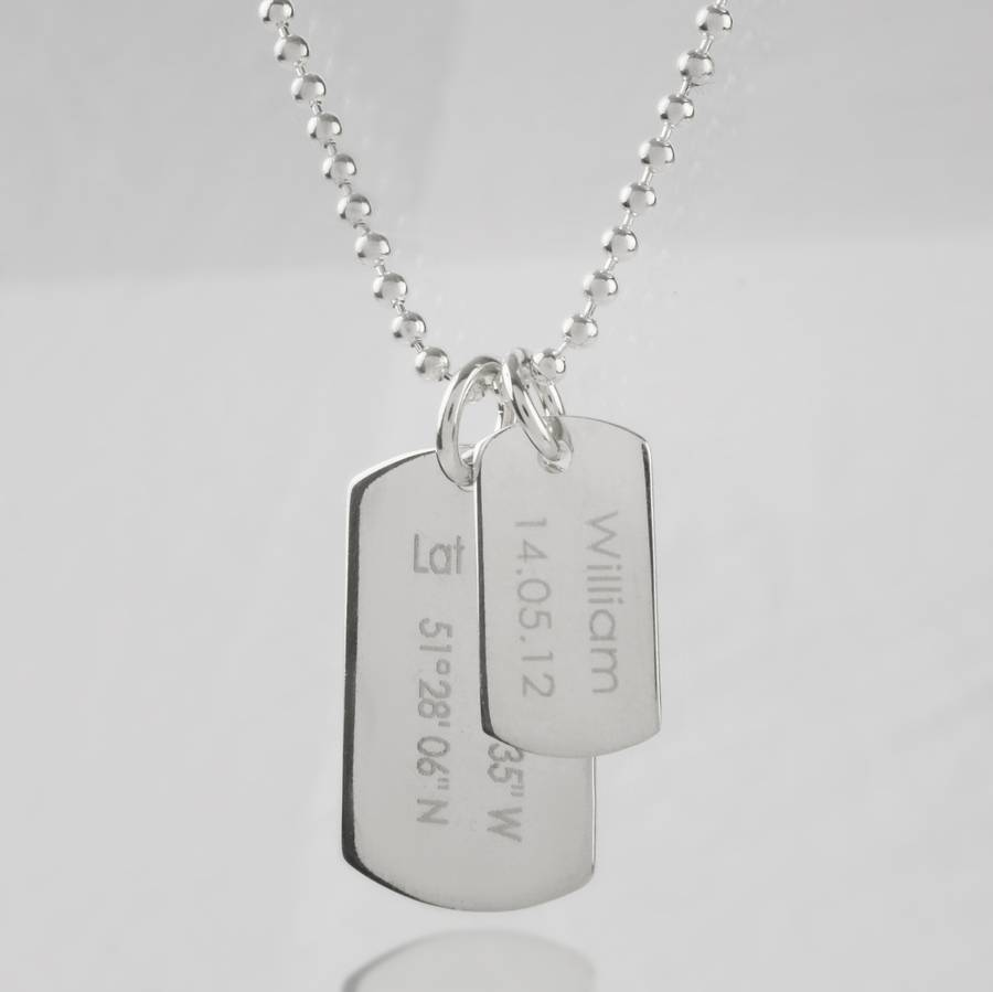 mens birth day celebration dog tags necklace by capture keep