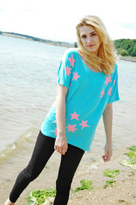 Turquoise Hand Printed Star Tee - tops & t-shirts
