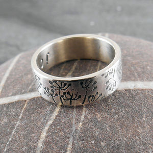 Cow Parsley Personalised Silver Ring - personalised