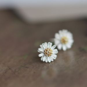 Silver Daisy Ear Studs - more