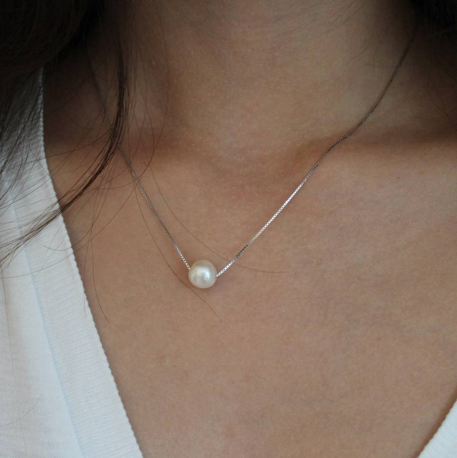 30d0c6b9e sterling silver floating pearl necklace by attic ...