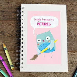 Personalised Girl's Animal Sketchbook - stocking fillers under £15