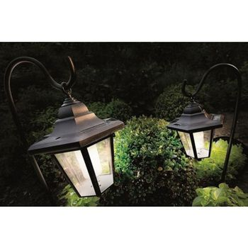 Two Solar Coach Lantern Lights With Shepherd's Hooks