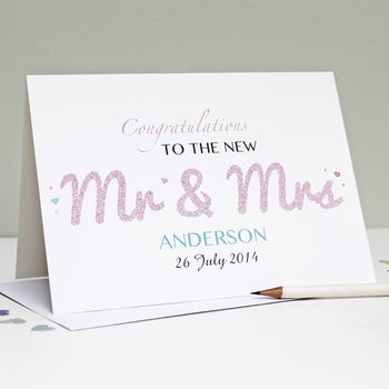 Personalised 'Mr And Mrs' Wedding Card
