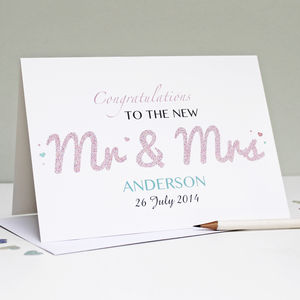 Personalised 'Mr And Mrs' Wedding Card - pretty pastels