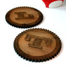 Set Of Two Personalised Monogram Walnut Wood Coasters