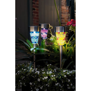Six Mosaic Glass Garden Border Solar Lights - lights & lanterns