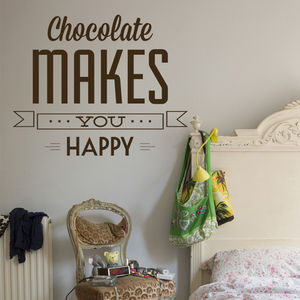 'Chocolate Makes You Happy' Wall Sticker