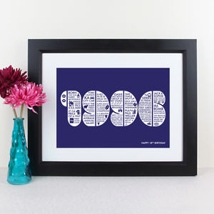 Personalised Year Memory Print - birthday gifts