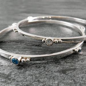 Gem Cluster Silver Bangle Bracelet - bracelets & bangles