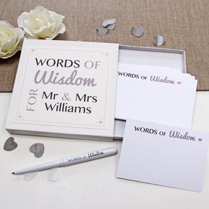Wedding Guest Words Of Wisdom Notes - advice cards & table games